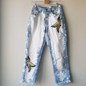 Carmar Adour Juliet Jeans Gold Bird Applique Sz 27
